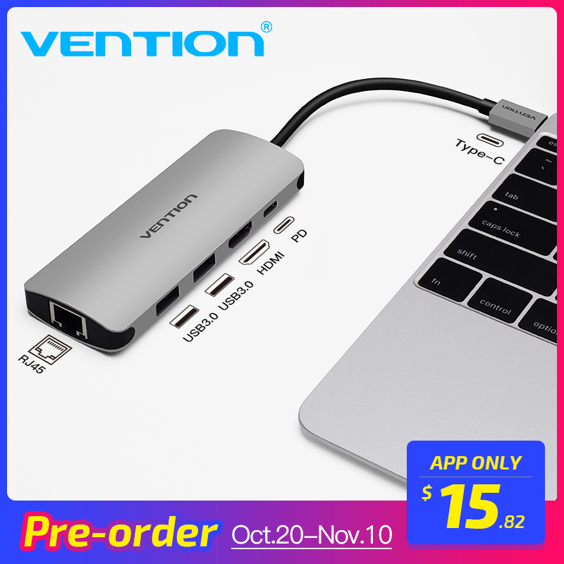 Vention Thunderbolt 3 Adapter USB Type C to USB 3.0 HUB HDMI RJ45 PD Converter for MacBook samsung S9 huawei p20 pro USB-C HUB