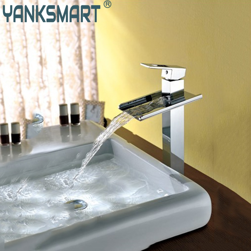 YANKSMART Bathroom L-1 Waterfall Faucet Sink Basin Mixer Water Tap Torneira Pia Chrome Vanity Vessel Sinks Mixers Taps Faucet tall brass chrome bathroom waterfall basin faucet vessel single handle sink mixer tap bathroom faucet mixer torneira banheiro