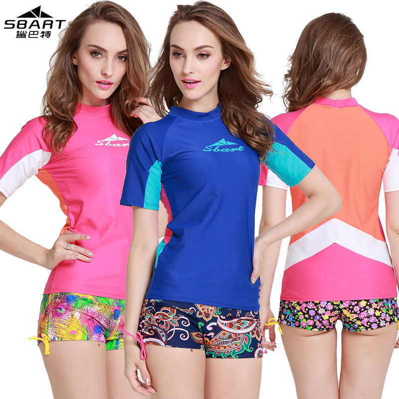 Sbart Women's Surfing Rash Guard Short Sleeve Sunscreen Quick-dry T-Shirt Swim Surf Dive Beach Sports Female Shirt Rash Guard billabong men s thirsty surf short sleeve t shirt