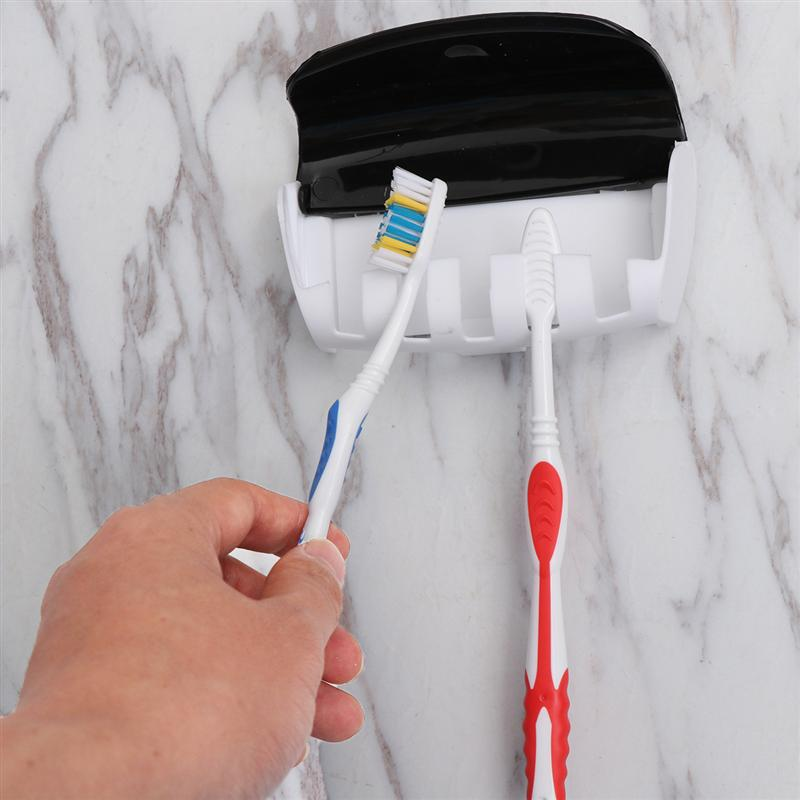 Image 4 - 2Pcs Wall Mounted Toothbrush Holder Manual Toothpaste Squeezer Suction Toothbrush Hanger Home Bathroom Accessories Set (Black)-in Toothbrush & Toothpaste Holders from Home & Garden