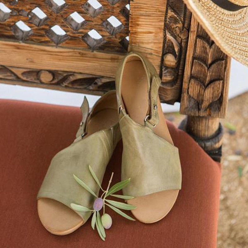 2019 New Summer Flats Women Sandals PU Flip Flops Fashion Wedges Shoes Woman Gladiator Slides Ladies Casual Sandals Size 34-43 big toe sandal