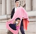 Женщин шарф 2015 зима теплая двойной слой шарф европейский твердого мода шерсть шарфы розовый женщина большой длинный шалей шарфы
