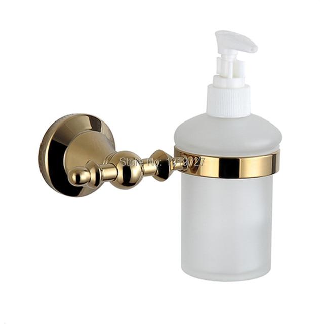 2016 Wall Mounted Brass Gold plating Soap Dispenser Bathroom Accessories Titanium Liquid Soap Dispenser