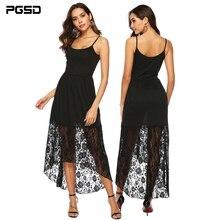 PGSD Summer sexy Elegant black waist lace stitching perspective irregular Medium length Sling Dress Fashion women clothes female