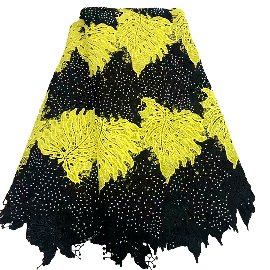 (5yards/pc) High quallity Black and yellow African lace fabric French net lace fabric with beads stone for party(5yards/pc) High quallity Black and yellow African lace fabric French net lace fabric with beads stone for party
