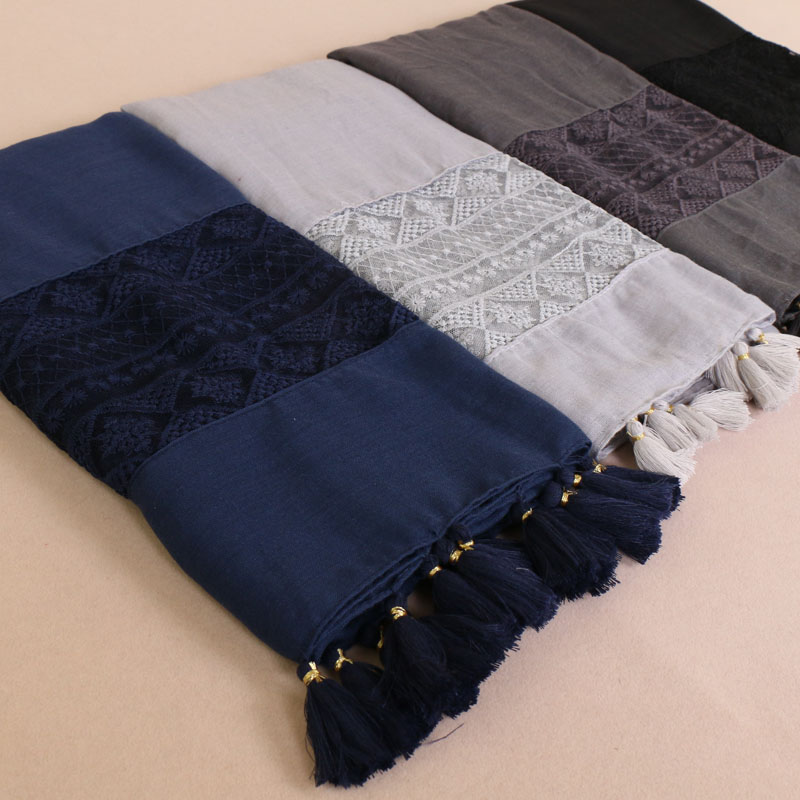 Women Lace cotton scarf foulard Luxury geometric tassel hijab soft plain shawl muslim long headband max