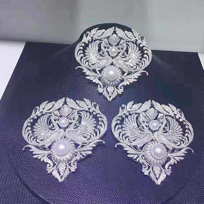 Dual Menggunakan Mikroskop Zirkon DIY Bahan Double Phoenix Rumbai Liontin Gesper Sweater Panjang Rantai Gesper Bros