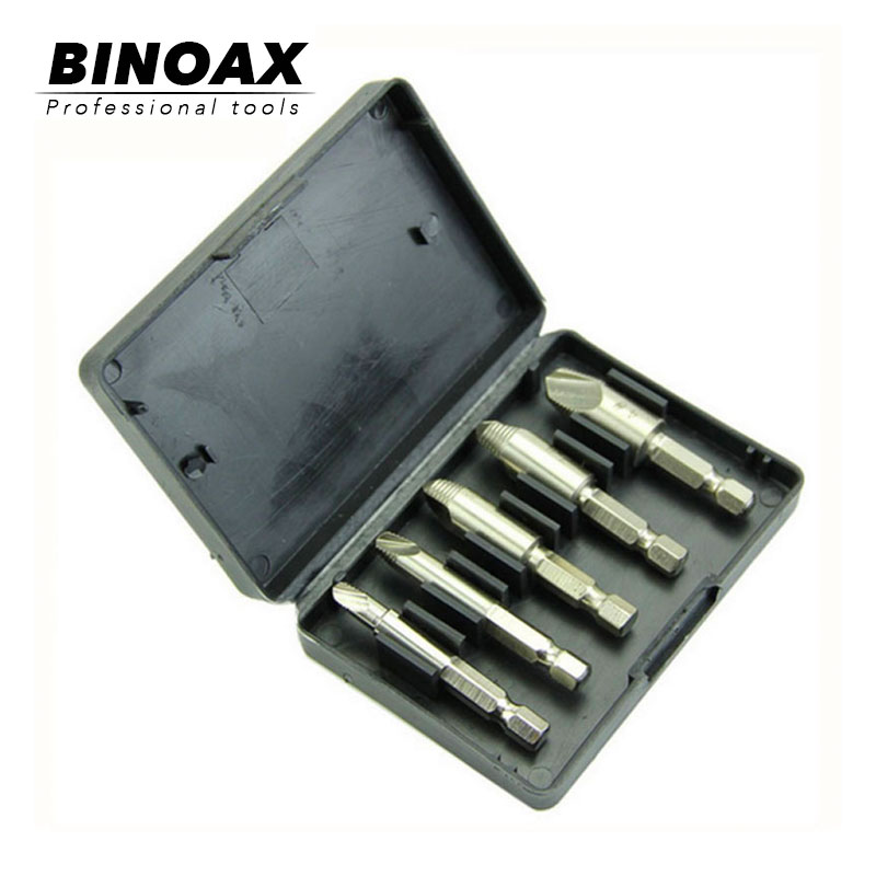 BINOAX 5Pcs Screw Extractor Set Easy Out Drill Bits Guide Broken Screws Bolt Remover 1/4