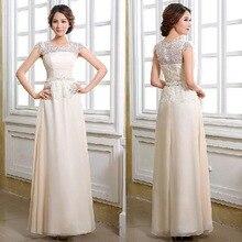 Champagne Chiffon Lange Formale Abendkleid Mit Kurzen Kappen-hülsen Plus Größe Hochzeit Kleid