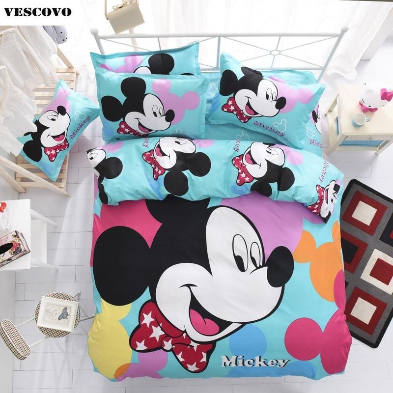 mickey mouse kids cartoon bedding set bed sheet linens duvetquilt cover sets