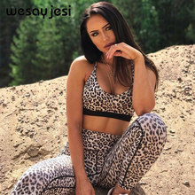 hot deal buy new leopard fitness female two pieces sets 2018 strapless leopard sexy tank tops and push up high waist leggings tanksuits