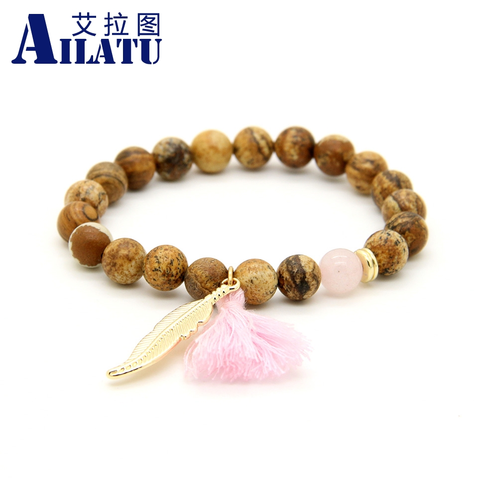 ▽Ailatu 8mm Yellow Picture Stone Beads Hang Feather and Tassel ...