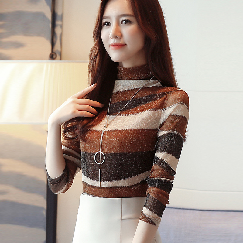 2018 fashion striped women shirts blouse turtleneck net yarn womens clothing long sleeve plus size feminine tops blusas 821E 30