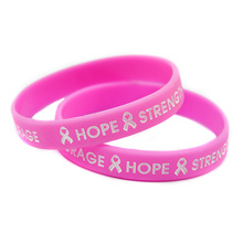 HOPE STRENGHT COURAGE Silicon Bracelet, Wristband with Ribbon, Bracelet for Cancer, Pink, 10,