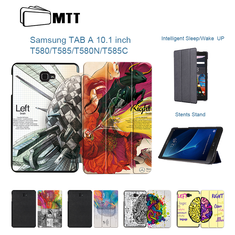 Print Left Right Brain Case For Samsung Galaxy Tab A 10.1 2016 T580 T585, MTT Flip Stand Cover for Tab A SM-T580 SM-T585N Case цена 2017