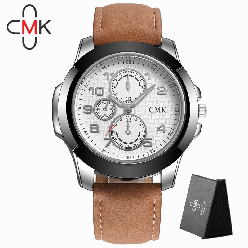 Brand Fashion sports quartz wristwatch high quality men watches 4 color clock best gift casual leather strap watch with gift box