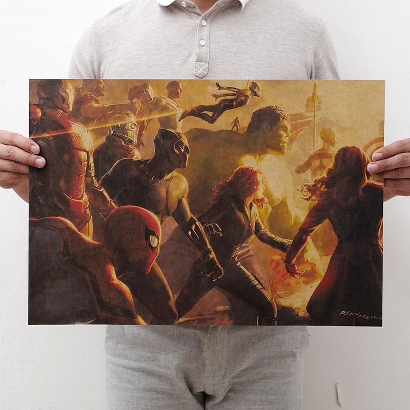 Mling 1 шт., 51,5x36 см, постер из серии Marvel, Мстители, война бесконечности, Ретро плакат, наклейки на стену для гостиной, украшение для дома - Цвет: H13