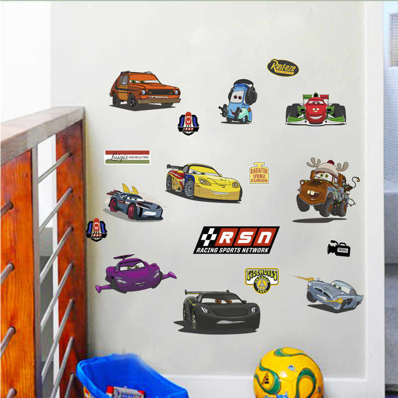 Cartoon Car Wall Stickers For Kids Room Boy Bedroom Decoration Growth Chart Mural Art Decals Boy's Room Deco