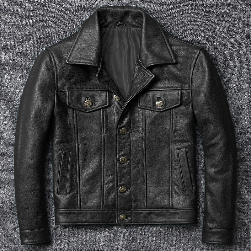 100% Genuine Leather Mens Aviator Jacket Italy Luxury Single Breasted Short Windproof Biker Leather Pilot Coat Plus Size 5XL