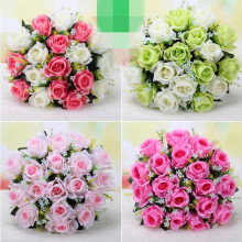 one Artificial Mint Green Rose Bounch Flower (18 heads/piece)  Roses Flowers Plastics Rose for Wedding Bride Bouquet Floral Deco