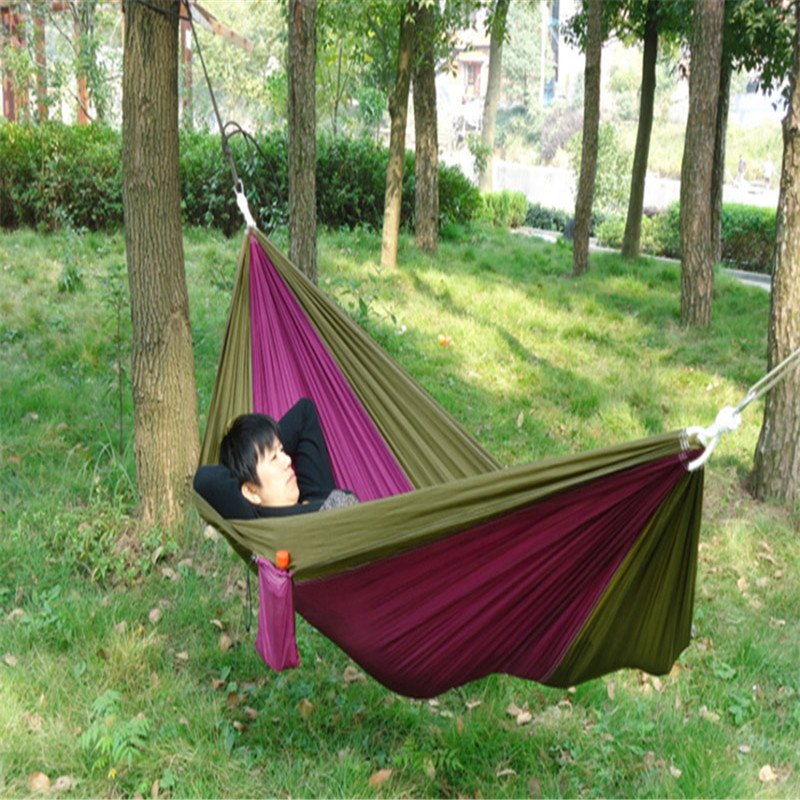 New Portable Outdoor Traveling Camping Parachute Nylon Fabric Hammock For Two Person 8 Colors Dropshipping Hamacas Al Aire Libre thicken canvas single camping hammock outdoors durable breathable 280x80cm hammocks like parachute for traveling bushwalking