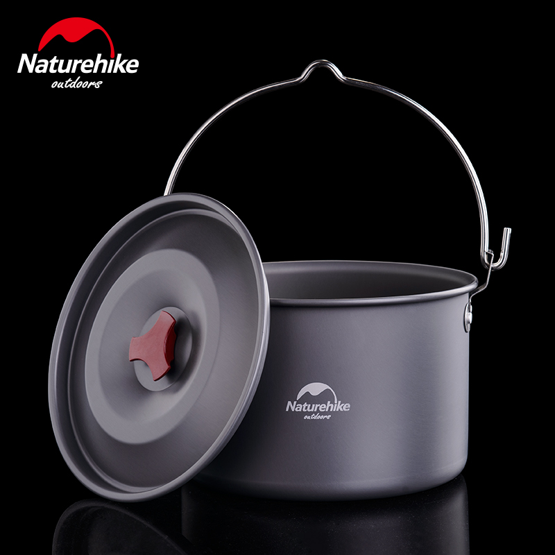 Naturehike 4-6 Persons Outdoor Camping Pots Alumina Durable Cookware Ultralight Cooking Picnic Camp Pot Kettle 4L big capacity kingcamp 2016 big capacity 20l portable ultralight travel car cooler box for outdoor cooking picnic barbecue camping food
