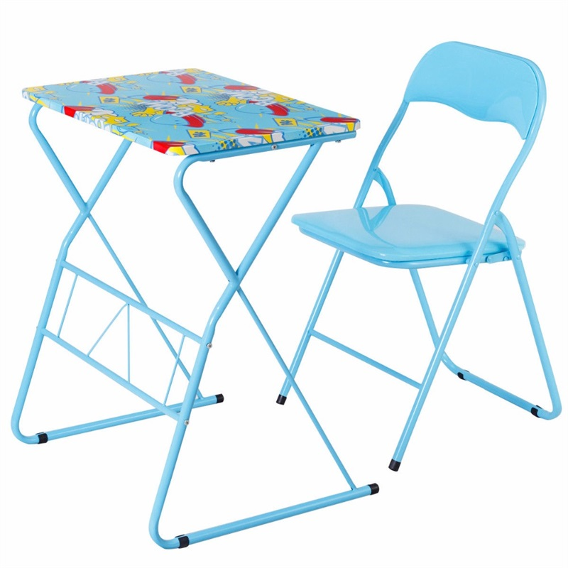 Home School Kids Study Writing Folding Table Chair Set Blue Painting Children Furniture Sets HW58953