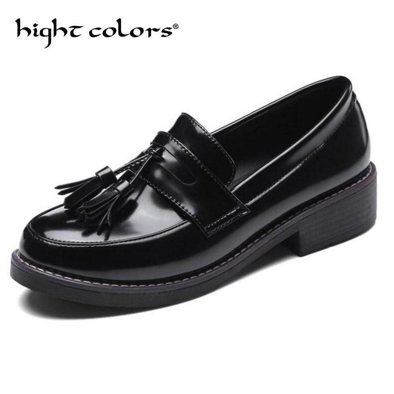 2019 sans lacet femmes Oxfords mocassins Oxford chaussures pour femmes bout rond appartements mocassins noir cuir richelieu chaussures femme MM30