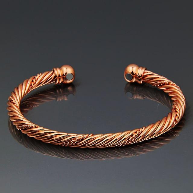 LAKONE Fashion Jewelry Pure Copper Rose Gold Color Magnetic Wrist Bangle Bracelet Men Women Unisex Cuff Round Pulseiras B05