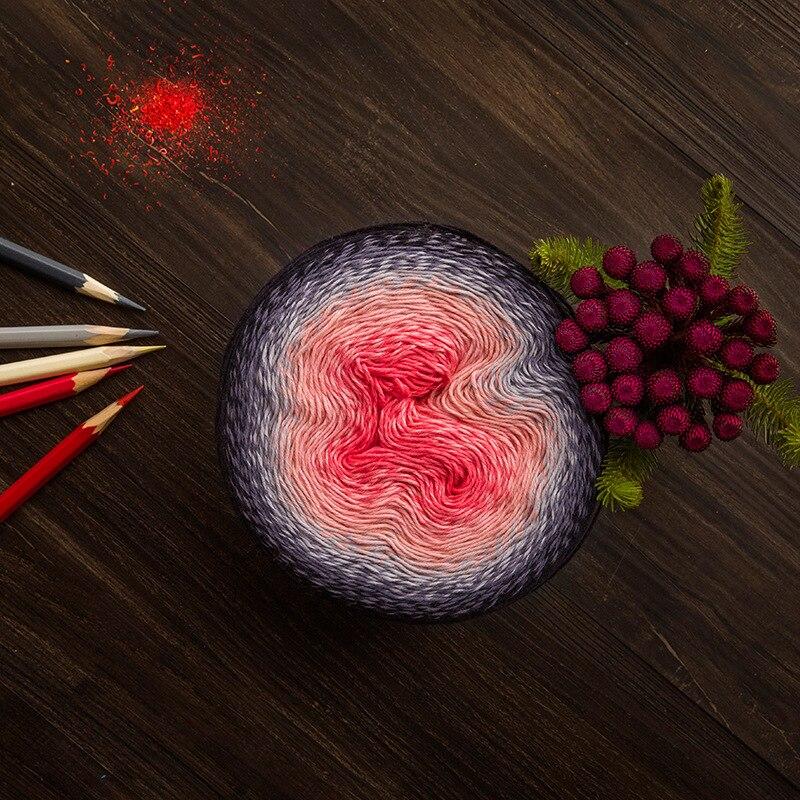 225 G 1000 M/ball Fancy Cotton Yarn For Crocheting Shawl Children Dress Gradient Candy Color Yarn Diy Hand Knitting Material