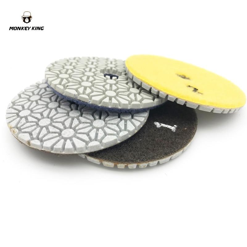 Diamante Almohadillas de pulido en seco / húmedo discos abrasivos para herramientas de rueda 3 pulgadas 3 PASOS Juego de cuarzo Granito Mármol Piedra Concreto