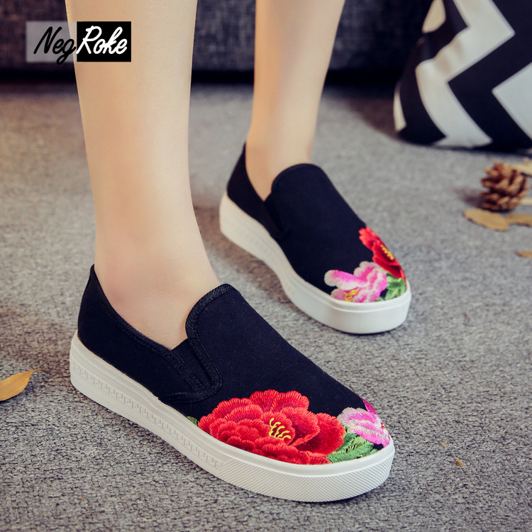 Primavera pintura en tinta China pesado bordado zapatos Mujeres de Los Planos Oc