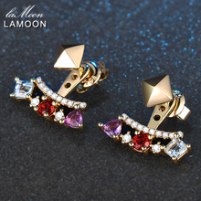 LAMOON 0.7ct 3mm Natural Amethyst Garnet Topaz made with 925 Sterling Silver Jewelry 14K Yellow Plated Stud Earrings LMEI003