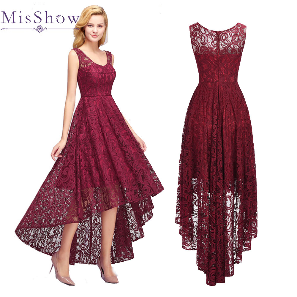 Robe Demoiselle D'honneur Burgundy Bridesmaid Dresses 2019 Long Back Shor Front Lace Dress For Party Women Wedding Guest Dress