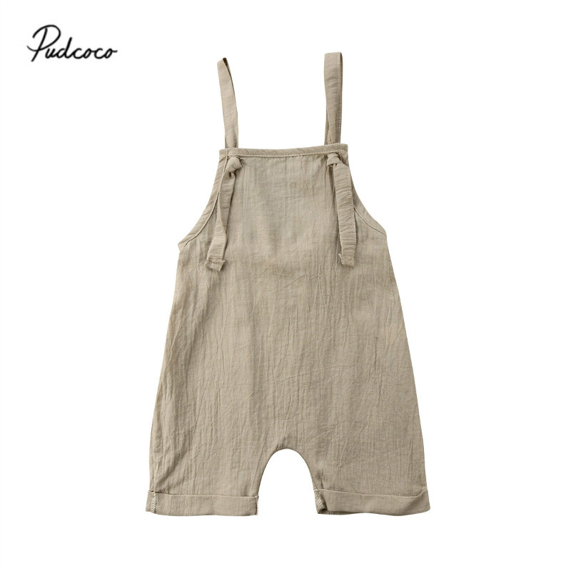 Pudcoco 2018 Toddler Baby Boy Girl Bib-style Rompers Jumpsuit Playsuit Outfits Cool Summer Backless Bandage Baby Rompers 0-3T