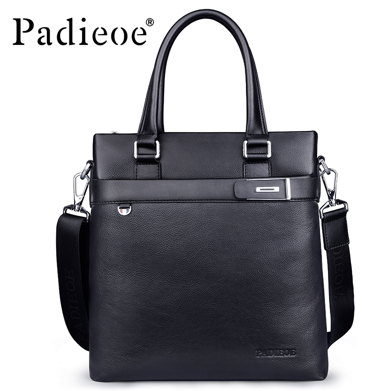 Padieoe Luxury Business Men's Briefcase Genuine Cowhide Leather Messenger Bag Handbags Fashion Casual Portfolio Briefcases padieoe mens briefcase famous brand top cowhide leather men messenger bag luxury handbags shoulder bags male business portfolio
