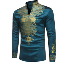 Dashiki Traditional African Clothes for Men Bazin Ethnic Style Printed Long Sleeves Riche Silk Africa Men Dashiki Shirt Wax