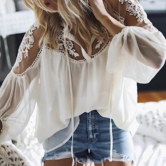Sexy Lace Mesh Shirt Embroidery Patchwork Women Casual Long Sleeve Tops Chiffon Blouse Ladies Loose Tops Shirts Female Blusas 6