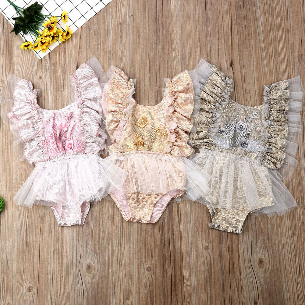 Newborn Baby Kid Girl Sleeveless Flower Romper Bodysuit Jumpsuit Outfits Sunsuit  Birthday Cake Smash Outfits Princess Romper