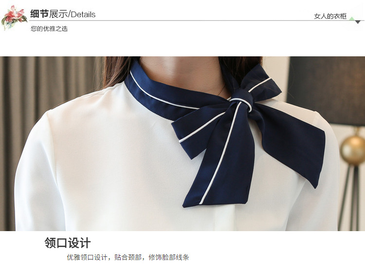 Dingaozlz Summer Bow tie collar Professional White Chiffon shirt Short sleeve Women Tops New fashion office lady blouse