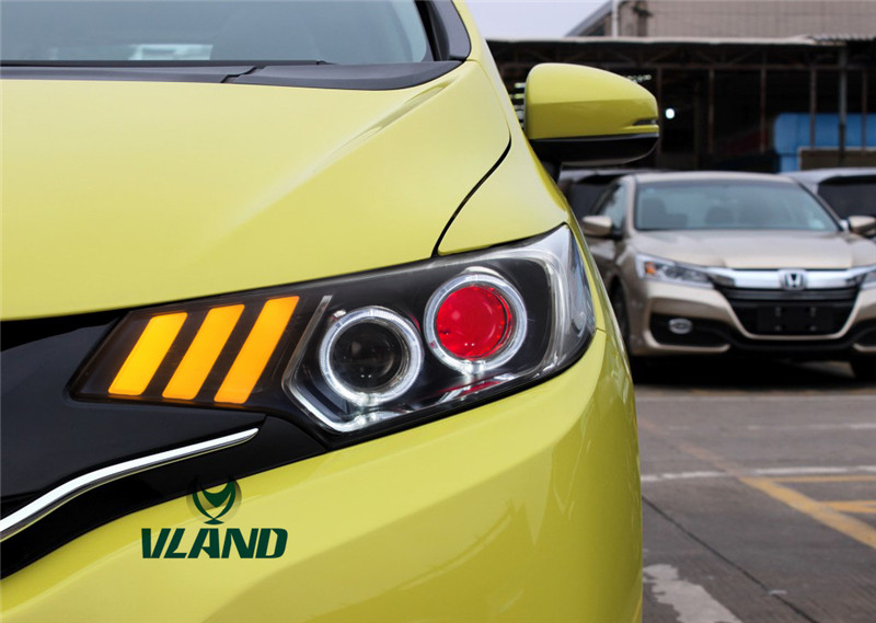 Free Shipping for Vland Car Lamp for Honda Jazz Headlight for Fit Head Light LED Mustang Style DRL Flashing Signal for 2014-2017 free shipping china vland car led tail lamp for 2008 2015 mitsubishi lancer a6l style taillight with led moving signal light