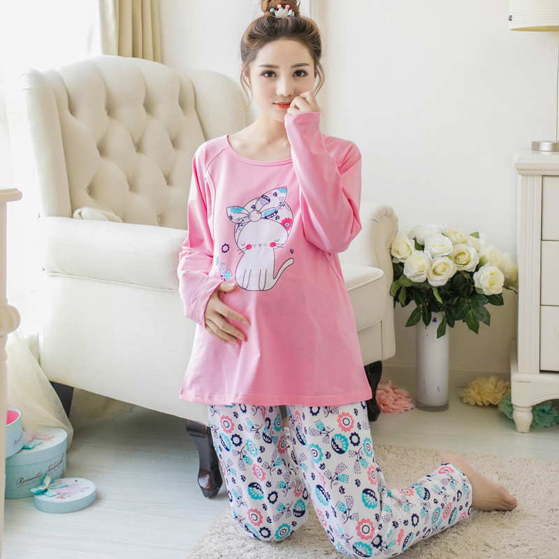 Monther clothing 2019 cotton spring and autumn postpartum nusing feeding clothing pregnant women pajamas suit home serviceMonther clothing 2019 cotton spring and autumn postpartum nusing feeding clothing pregnant women pajamas suit home service