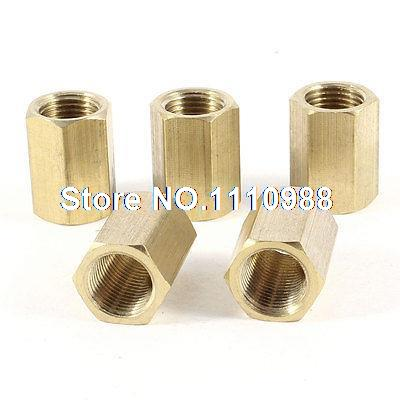 5pcs 1/8PT Female Brass Full Port Hex Rod Pipe Tube Fitting Connector Nut 3pcs brass internal hex head socket 1 2 pt thread pipe plug fitting