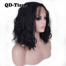 hot deal buy qd-tizer black/brown color loose wave synthetic lace front wig short lob hair glueless with baby hair lace front wigs for women