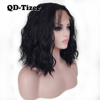 QD-Tizer Black/Brown Color Loose Wave Synthetic Lace Front Wig Short Lob Hair Glueless with Baby Hair Lace Front Wigs for Women qd tizer 180% density black loose hair synthetic lace wigs long loose curly synthetic lace front wigs for black women