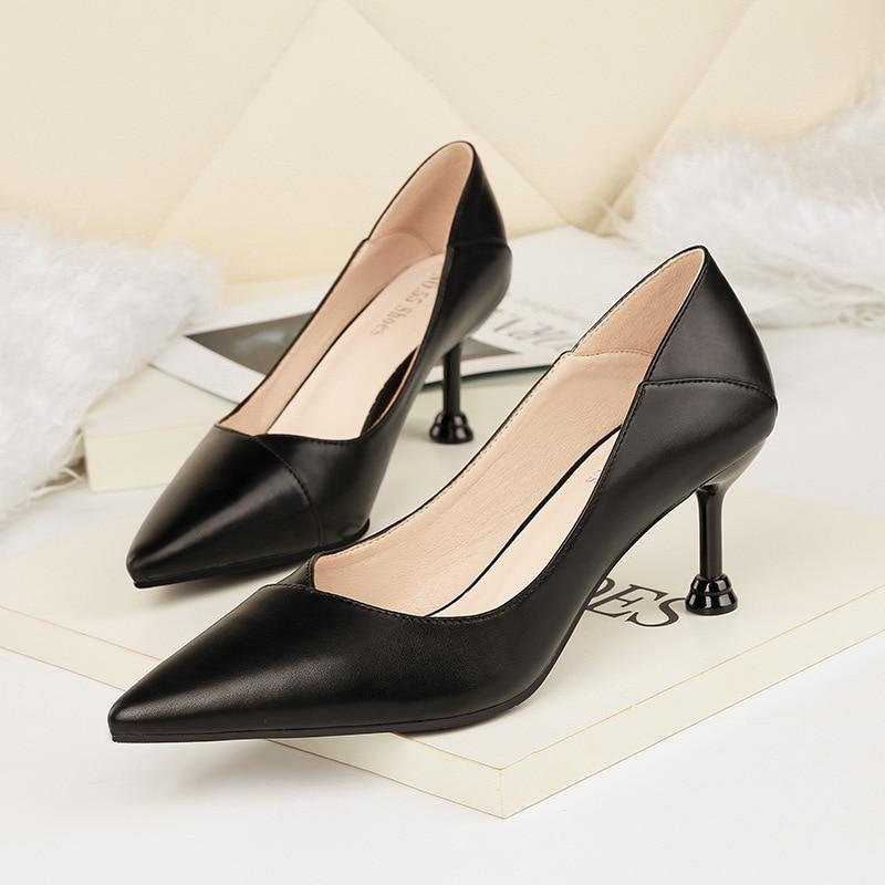 ce4aec5bdc9 Pointed Toe Spring Shallow Kitten Heel Pumps Women Shoes 2019 Medium Heel  stilettos Office Shoes Ladies Party Wedding Shoe