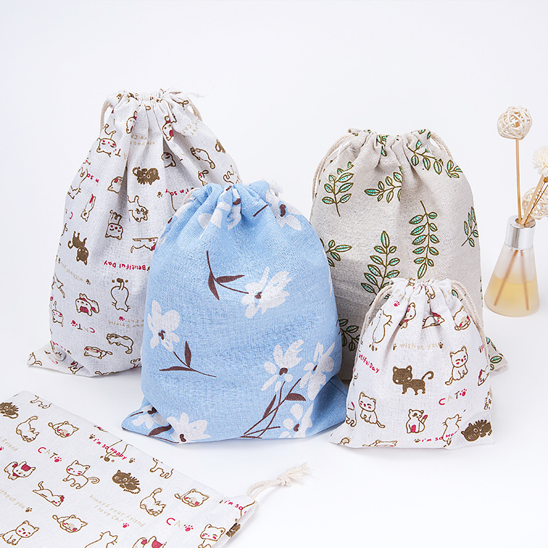 Women Drawstring Bag Hand Bag Travel Drawstring Dry Cotton Canvas Lingerie Makeup Pouch Cosmetics Underwear Organizer Handbag