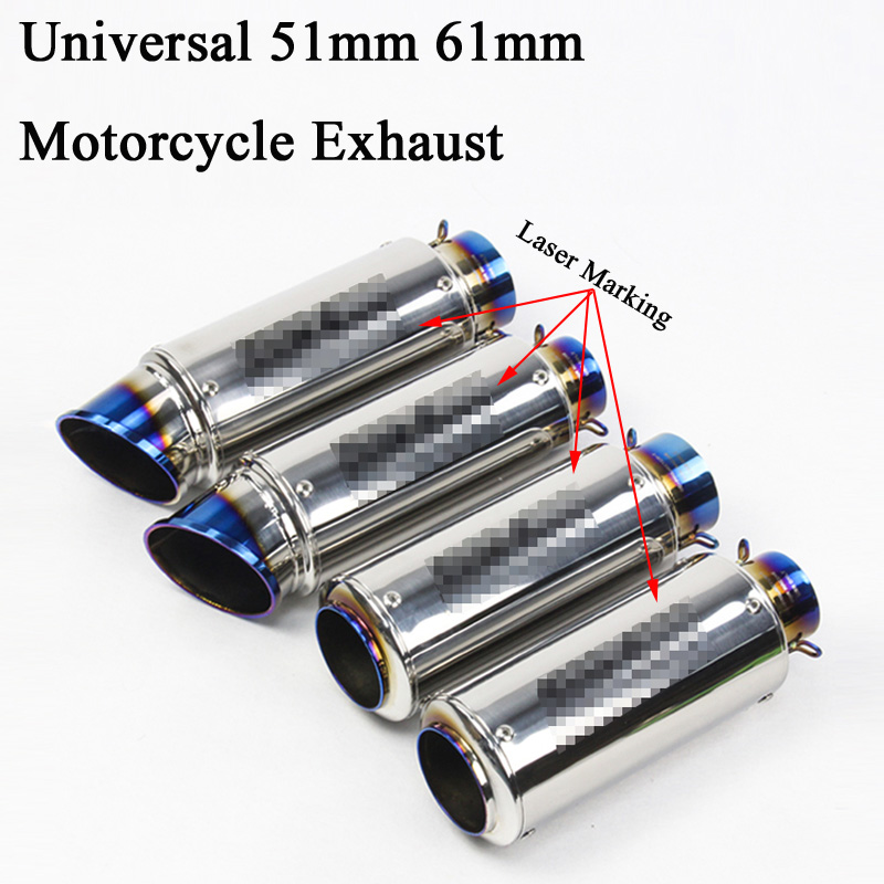 51mm 61MM Universal Motorcycle Exhaust Pipe Escape Modified Motorbike Laser Marking Muffler For CBR1000RR S1000RR Ninja 300 R6