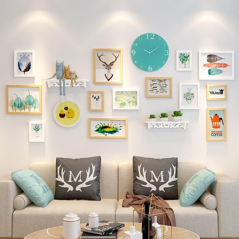 14 pz Cornici + Orologio + Mensola di Casa Appeso Album di Foto per Foto Combinazione Muro Photo Frame Set di Legno cornici Set