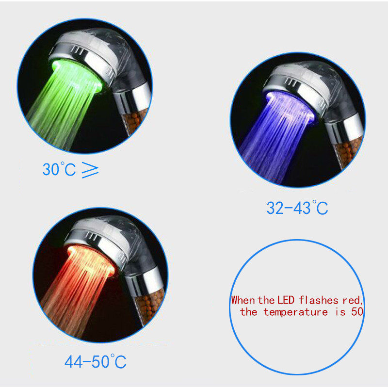 Hot Selling LED Anion Shower SPA Shower Head Pressurized Water Saving Temperature Control Colorful Handheld Big Rain Shower 5